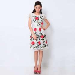 New Embroidered White & Red Western Dress by Kmozi, white & red, free size