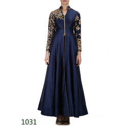Kmozi Shop Navy Embroide Anarkali Palazzo Suit, blue