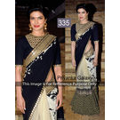 Kmozi Priyanka Galaxy Designer Saree, black and cream
