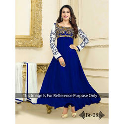 Kmozi Embrodaried Designer Anarkali Suit, blue