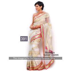 Kmozi Mira Designer Saree, white