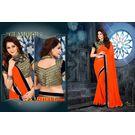 Kmozi Designer Saree Buy Online, orange