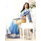 Kmozi Sky Embrodried Saree, blue and cream