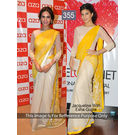 Kmozi Jeckline With Isha Gupta Fancy Style Saree, yellow and white