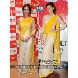 Kmozi Jeckline With Isha Gupta Fancy Style Saree, yellow and white