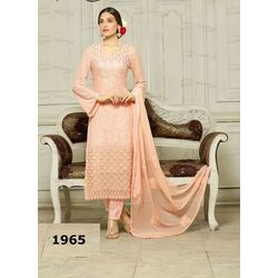 Kmozi Pure Chiffon Peach Heavy Embroidery Work Dress Material, peach