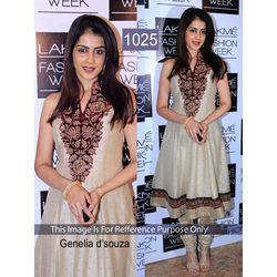 Kmozi Genelia D Souza Designer Anarkali Suit, cream
