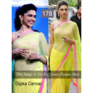 Kmozi Bollywood Replica Dipika Chennai Express Saree, light yellow