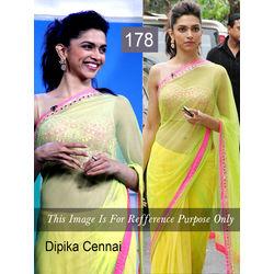 Kmozi Bollywood Replica Dipika Chennai Express Saree, light yellow