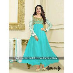 Kmozi Light Embrodaried Designer Anarkali Suit, light blue