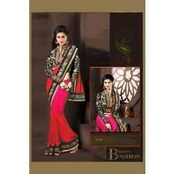 Kmozi Lace Work Designer Saree Buy Online, pink and red