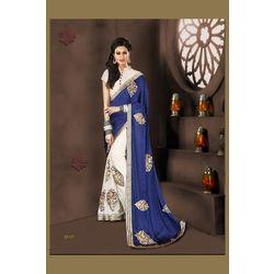 Kmozi Designer Saree, blue and white