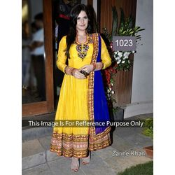 Kmozi Zarine Khan Latest Designer Anarkali Dress, yellow