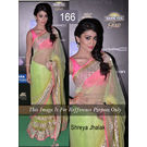 Kmozi Bollywood Replica Shreya Jhalak Saree, neon parrot light