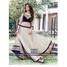 Kmozi Printed Designer Lehenga Choli, blue and off white