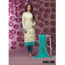 Kmozi Designer Long Sleeve Dress Material, white