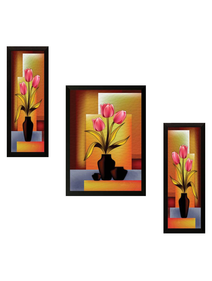 SAF Set of 3 Flowers Digital Reprint Painting (14 inch x 20 inch)
