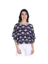 Girggit Polyester Crepe Round Neck Aztec Print Cap Sleeve Top (SS17-GW-005), 8, multicolor