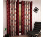 India Furnish Eyelet Polyester Curtain Long Door Length - Set Of 6 Pcs (IFCUR15041L(6) ), maroon