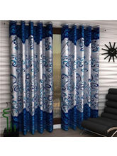 India Furnish Eyelet Polyester Curtain Door Length - Set Of 5 Pcs (IFCUR15012(5) ), turquoise