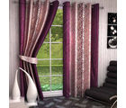 India Furnish Eyelet Polyester Curtain Long Door Length - Set Of 5 Pcs (IFCUR15010L(5) ), wine