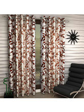 India Furnish Eyelet Polyester Curtain Door Length - Set Of 4 Pcs (IFCUR15095W(4) ), brown