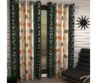 India Furnish Eyelet Polyester Curtain Door Length - Set Of 8 Pcs (IFCUR15015(8) ), green