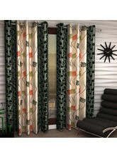 India Furnish Eyelet Polyester Curtain Door Length - Set Of 8 Pcs (IFCUR15015(8) ), green