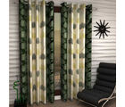 India Furnish Eyelet Polyester Curtain Window Length - Set Of 6 Pcs (IFCUR15042W(6) ), green