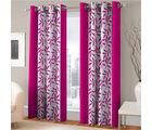 India Furnish Eyelet Polyester Curtain Door Length - Set Of 6 Pcs (IFCUR15018(6) ), pink