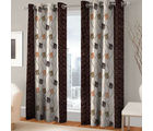 India Furnish Eyelet Polyester Curtain Door Length - Set Of 5 Pcs (IFCUR15011(5) ), brown