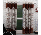 India Furnish Eyelet Polyester Curtain Door Length - Set Of 2 Pcs (IFCUR15007), brown