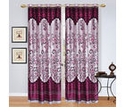 India Furnish Eyelet Polyester Curtain Long Door Length - Set Of 3 Pcs (IFCUR15006L(3) ), wine