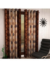 India Furnish Eyelet Polyester Curtain Window Length - Set Of 4 Pcs (IFCUR15044W(4) ), brown