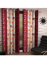 India Furnish Eyelet Polyester Curtain Window Length - Set Of 4 Pcs (IFCUR15022W(4) ), maroon