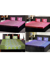 India Furnish Double Bedsheets With Pillow Covers Combo Of 4 Sets (IFBST15101), multicolor