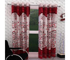 India Furnish Eyelet Polyester Curtain Long Door Length - Set Of 3 Pcs (IFCUR15020L(3) ), maroon