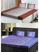 India Furnish Double Bedsheets With Pillow Covers Combo Of 2 Sets (IFBST15220), multicolor