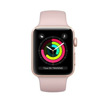 APPLE SERIES 3 SMART WATCH - 38MM GOLD ALUMINUM CASE WITH PINK SAND SPORT BAND, GPS, WATCH OS 4, MQKW2,  pink