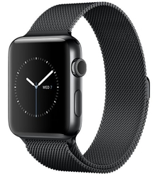 APPLE WATCH SERIES 2 42MM SMARTWATCH BLACK STAINLESS STEEL CASE SPACE BLACK MILANESE LOOP BAND MNQ12