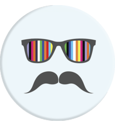 POPSOCKETS MOBILE STAND,  mustache rainbow