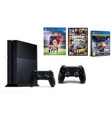 Sony Playstation 4 500GB Standard Edition+ 1 Extra Controller+ FIFA 16+ Destiny: The Taken King+ Grand Theft Auto V,  black, 500 gb