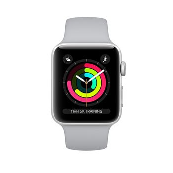 APPLE SERIES 3 SMART WATCH - 38MM SILVER ALUMINUM CASE WITH FOG SPORT BAND, GPS, WATCH OS 4, MQKU2