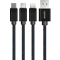 MYCANDY 3 IN 1 CABLE - MICRO USB, LIGHTNING & TYPE C UU02,  black