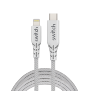 SWITCH ULTRA RUGGED TYPE-C TO MFI LIGHTNING CHARGE AND SYNC CABLE 2M WHITE
