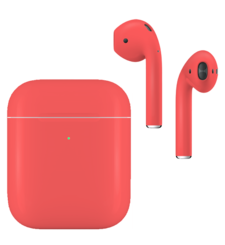 APPLE AIRPODS SECOND GEN WIRELESS PAINTED SPECIAL EDITION, matte,  coral orange
