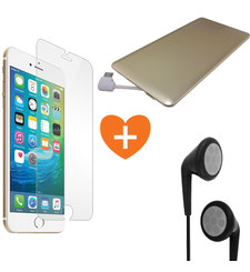MYCANDY COMBO DEAL FOR IPHONE 7 PLUS - TEMPERED GLASS PROTECTOR+ STEREO HEADSET+ 3000 mAh POWERCARD