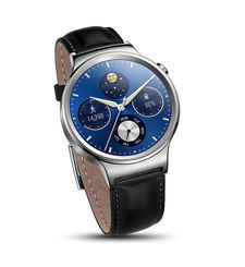HUAWEI W1 SMARTWATCH LEATHER STRAP WITH METAL FACE,  أسود