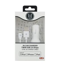 UUNIQUE MFI CAR CHARGER TWIN CABLE 3.4A WHITE