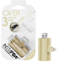 INSTAPOW CORDLESS LIGHTNING POWERBANK 800MAH,  gold